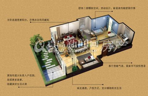 七栋洋房阳光花房 两室两厅一卫 建筑面积约88㎡