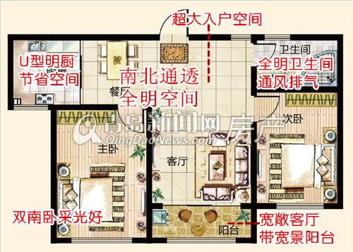 鑫江水青花园,小高层,B2户型,两室两厅一卫87㎡,青岛新闻网