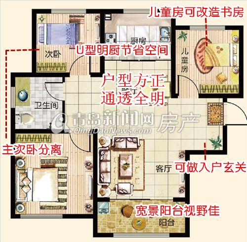 鑫江水青花园小高层94㎡B3三室两厅一卫户型,青岛新闻网