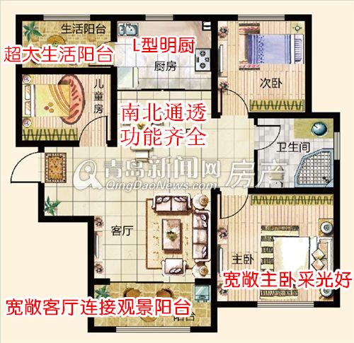 鑫江水青花园小高层107㎡B1户型三室两厅一卫户型,青岛新闻网