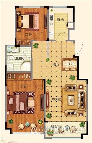 万海惜福时光小高层B1户型 两室两厅一卫85-95㎡