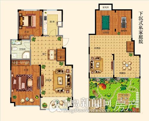 万海惜福时光电梯花园洋房B1-1户型 两室两厅一卫85-95㎡