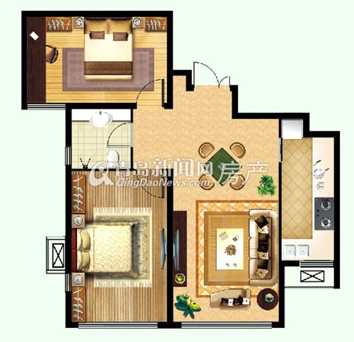 绿岛印象,欣苑,户型图,91㎡两室两厅一卫