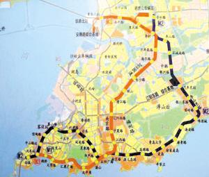 青岛地铁规划一期工程路线图(红线)-地铁线跑遍七区