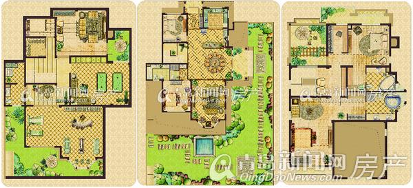 青岛别墅有了亚洲生态世茂典范美地打造橘子别墅荣誉户型郡公园别墅图图片