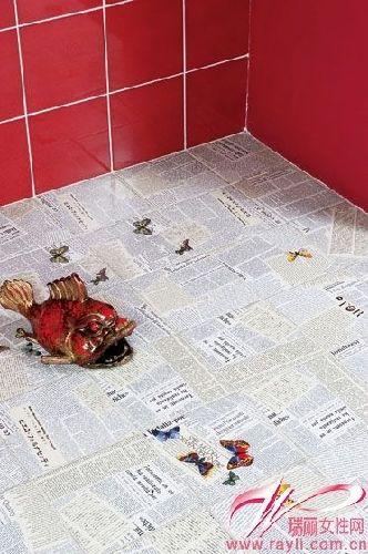 报纸图案手绘瓷砖