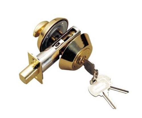 执手锁:呆锁:只有锁和碰球两种功能,主要安在入户门上,没有把手,开关