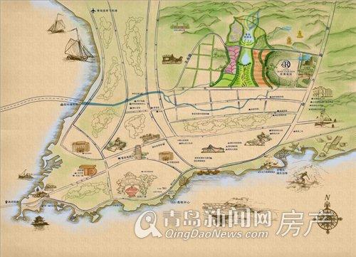 青岛手绘地图高清版