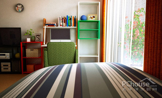 出勃勃生机。条纹的床单透露着主人的品味,又给人带来现代的时尚年轻感。        装饰Tips:双人布艺沙发,柔软舒适,勾勒出小型客厅的模样。墨绿色的稳重感,无形中似是一种成熟的象征。沙发上方的空间,可以根据喜好选择各式的墙贴来装饰。节省成本,又可以变换出不同的口味。自己亲手装饰自己的家,过程中的又会让我们感受到加倍的温馨。  装饰Tips:小圆桌取代了传统的床头柜,节省空间,又让人觉得轻快。黑色的闹表颇具艺术气息,圆