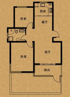 海情七栋洋房阳光花房 两室两厅一卫约88㎡户型解读