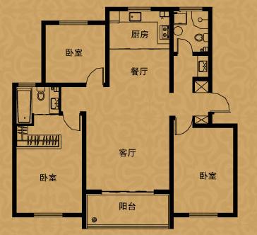 雅品空间 三室两厅两卫 建筑面积约125.24㎡