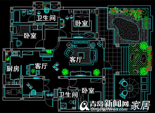 城阳弘通那拉提业主146平美式浪漫婚房 6万全搞定(图)