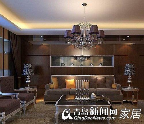 客厅大面积采用胡桃木和灰镜结合的设计