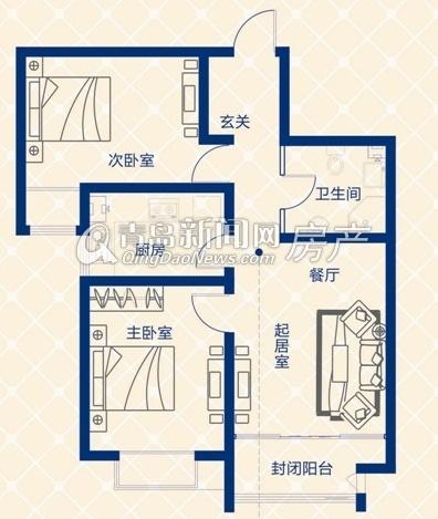 蓝图二期A3地块B户型两室一厅 120㎡-蓝图二期高层起价5399元 ㎡ 94
