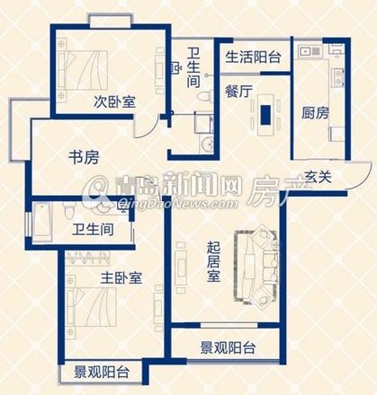 蓝图二期A3地块A户型两室两厅 140㎡-蓝图二期高层起价5399元 ㎡ 94