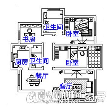布局雍翠华苑130平三口图纸3.5万打造的四方cad之家大户放大中图片