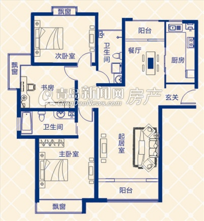 蓝图二期A1地块A户型两室两厅两卫 143.54㎡