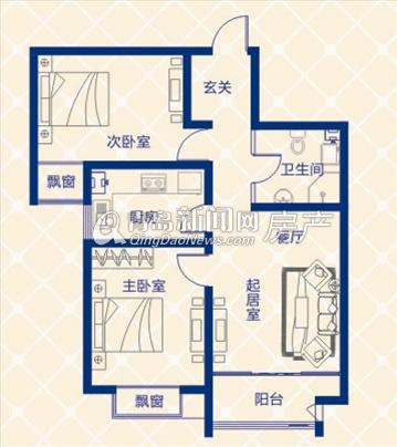 蓝图二期A3地块B户型两室一厅 94.13㎡-A3地块B户型两室一厅 94.13㎡