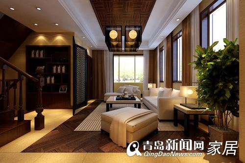 客厅软木地板与楸木色家具及木作十分协调