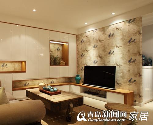电视背景墙与客厅柜子是一体,蝴蝶的元素尽显中式风格