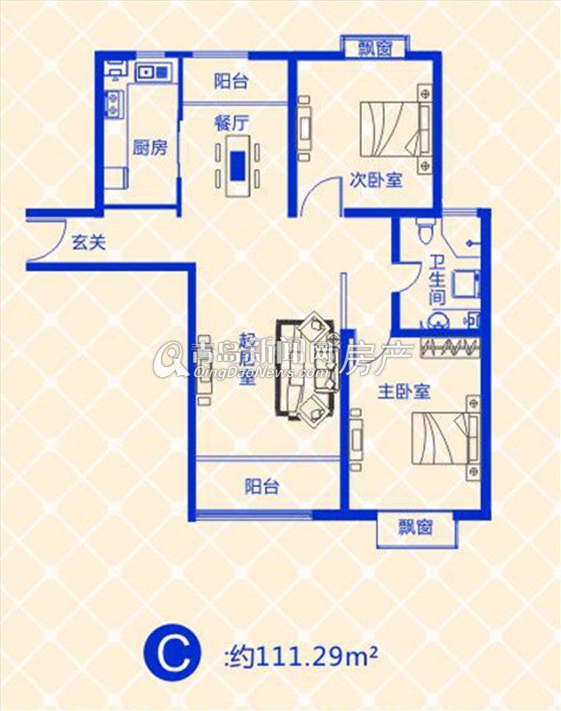 蓝图二期111.29㎡两室两厅一卫户型图-111.29㎡两室两厅一卫户型图