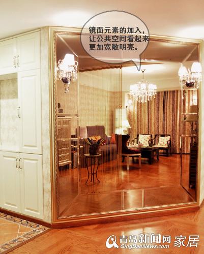 户型:两室两厅 建筑面积:109平米 设计风格:新古典+简欧风格     虽然建筑面积有109平米,但是去掉公摊,刘娟的家就是个标准的两居室了。为了让家里的自然采光更充裕,她把主卧与阳台之间的墙壁打通,改变了主卧只有一扇小窗的格局;原本L型形状的厨房面积缩小,让出来给餐厅,用餐区域的空间更宽阔。