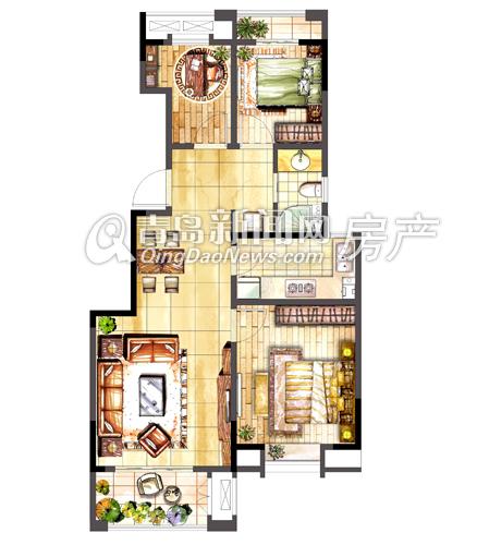 卓越c1户型图:88㎡三室两厅一卫