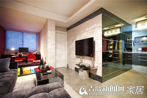 会客厅两项任务 黑色镜面有拓展视觉空间的作用
