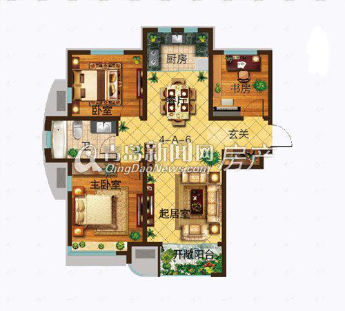 青特城99㎡三室两厅一卫高层户型图