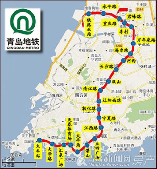 青岛地铁M3规划图-青岛地铁M3号横跨市内三区2015年通车 市北李沧