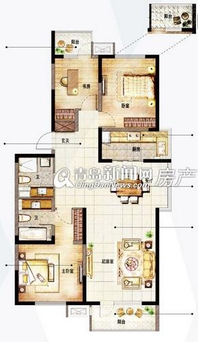 山东路万科中心140㎡三室两厅两卫,青岛新闻网房产