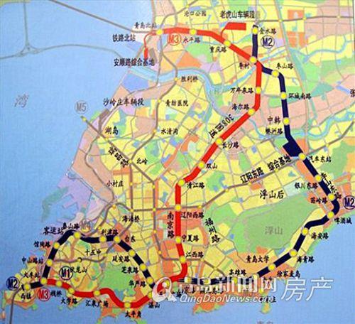 青岛地铁M2、M3号线规划线路图-地铁M3 重庆路 火车北站李沧交通之