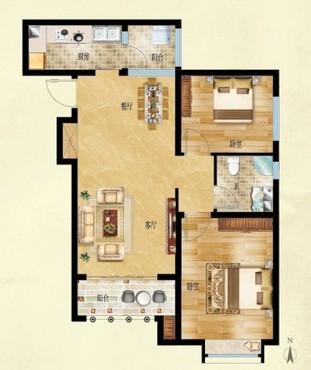 拾光86㎡两室两厅户型图 高清图片