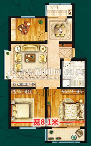 适园雅居106-112㎡三室两厅一卫b户型