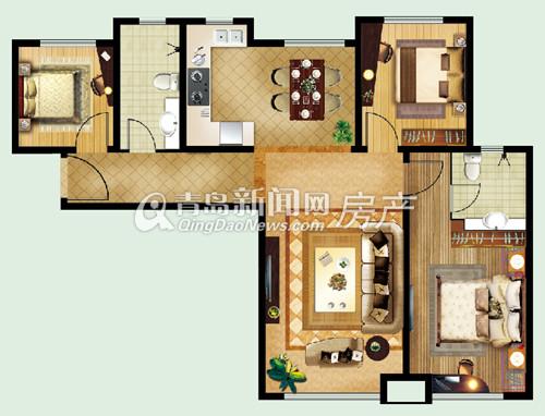 绿岛印象,欣苑,户型图,117㎡三室两厅两卫